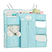 Gralet-home Bed Hanging Organizer Bedside Storage Bag Diaper Bag Crib Storage Bag Hanging Bag Multi-Function Storage Rack for Baby Cot Bunk Bed (Color : Blue, Size : 56X18X51CM)