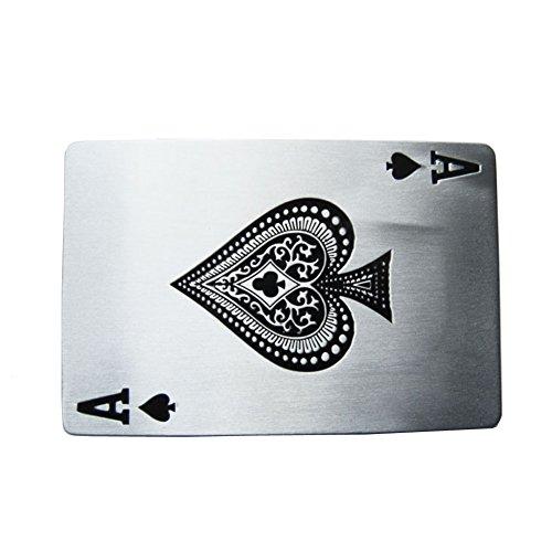 CHOIS New Ace Spade Poker Card Enamel Vintage Rectangle Belt Buckle (Ace Belt)