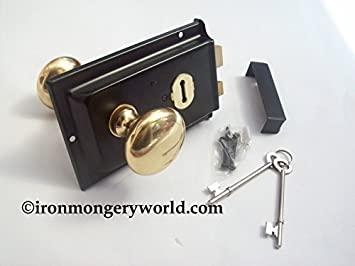 Ironmongery World Traditional Old Victorian Style Rim Door Lock Knob Handle  S...: Amazon.co.uk: DIY U0026 Tools