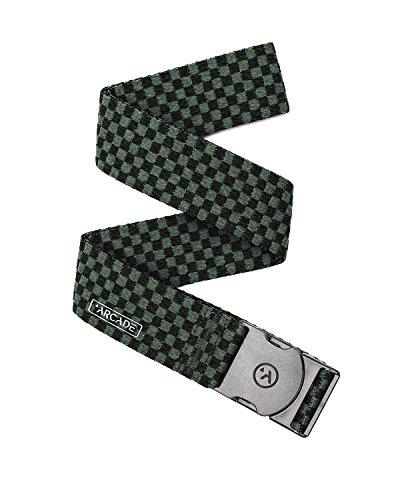 Arcade Mens & Womens Elastic Stretch Web Belts: Adventure Collection, Adjustable Non-Metal Buckle, Pronto 40 - Black/Dark Green