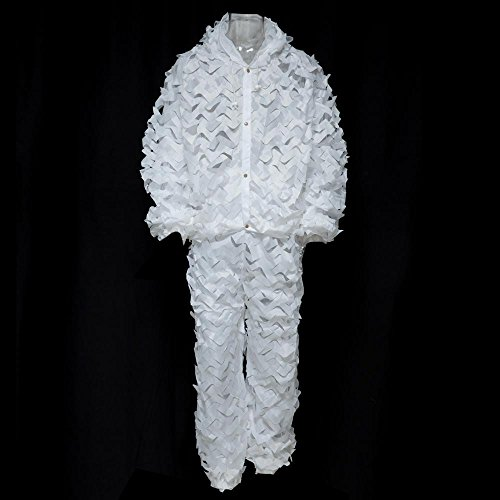 [Durable Oxford Outdoor Woodland Sniper Ghillie Suit Kit Cloak Military 3d Leaf - White] (Ghillie Suit Costume Youth)
