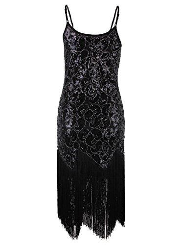 Vikoros - Vestido - Noche - Paisley - Sin mangas - para mujer Negro Puro