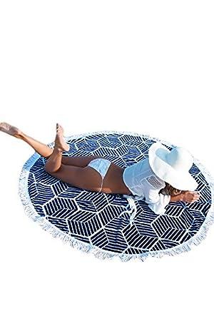 Azul marino redonda geométrico de algodón toalla de playa colchoneta de yoga: Amazon.es: Deportes y aire libre