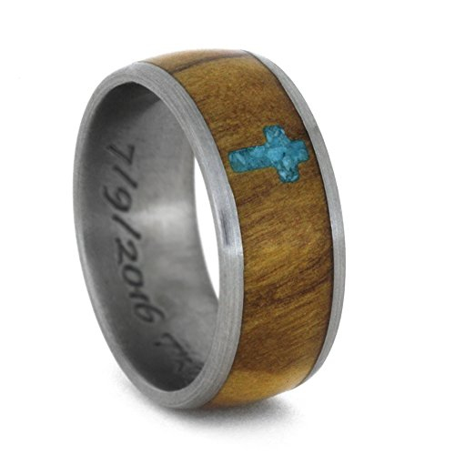 Inlaid Turquoise Cross, Olive Wood 8mm Comfort-Fit Matte Titanium Band, Size 14 by The Men's Jewelry Store (Unisex Jewelry)