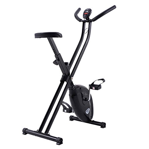 Goplus Exercise Bike Magnetic Resistance Upright Folding Bicycle Cardio Workout Cycle Fitness Stationary for Home
