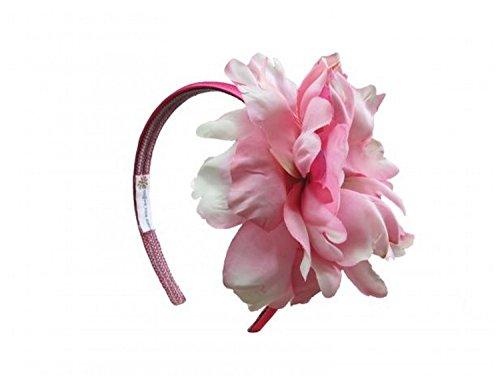 Raspberry Hard Headband with Candy Pink Large Peony, One Size