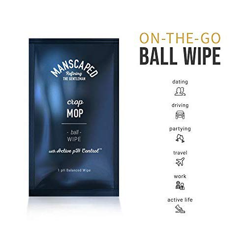 Manscaped Crop Mop: World's First On-The-Go Ball Wipe Individual 15 Pack,  Anti-Chafing Protection, Men's Odor Control, Male Hygiene Wipes, pH