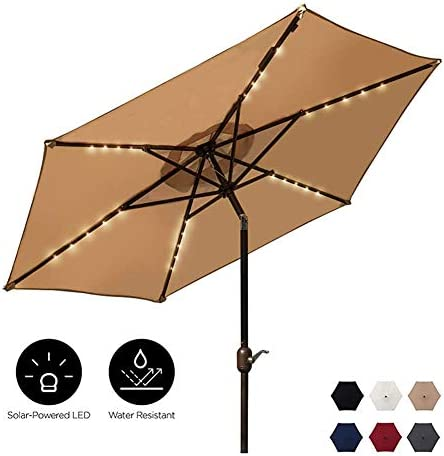 CHHDガーデンパラソル、パラソル、屋外ソーラーパティオの傘、LEDライト付きテーブルパラソル、チルト&クランク付き、6つの頑丈なリブ、30枚のソーラーライト(デッキ用)、プール、クランク