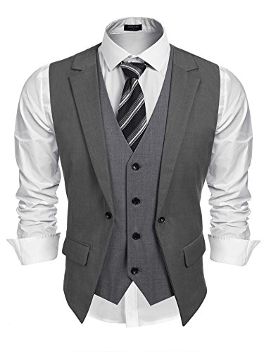 Coofandy Mens Formal Fashion Layered Vest Waistcoat Dress Vest,X-Large,Grey
