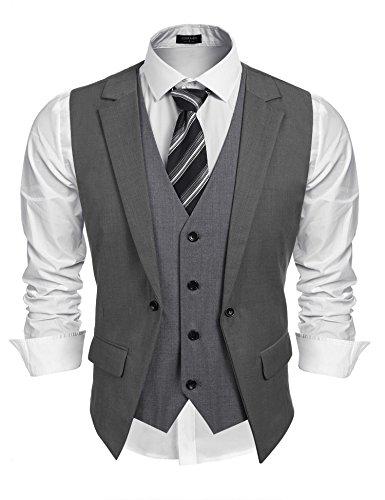 Coofandy Mens Formal Fashion Layered Vest Waistcoat Dress Vest,Grey,Medium - Wear Mens Vest