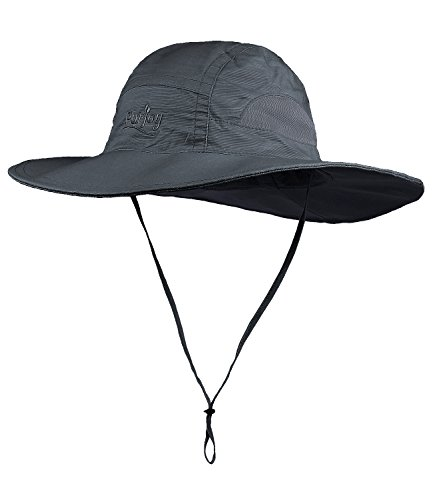 - Purjoy Sun Hat for Men & Women,Wide Brim UPF 50+ UV Protection Beach Cap, Breathable Outdoor Boonie Hats with Adjustable Drawstring Design,Perfect for Hiking,Fishing,Camping,Boating,Safari (Dark Gray)