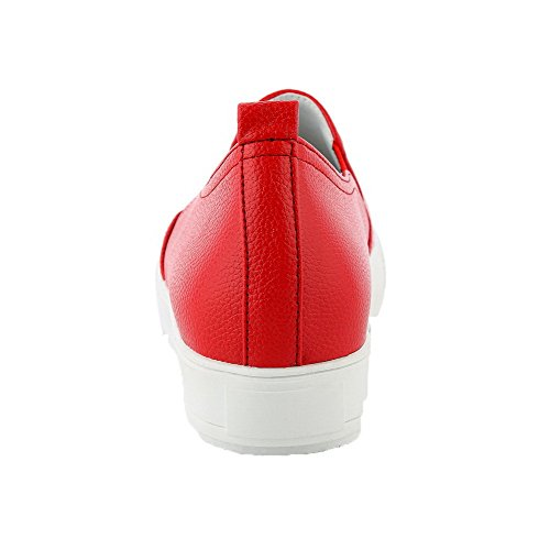 VogueZone009 Damen Ziehen auf PU Leder Rund Zehe Gemischte Farbe Pumps Schuhe Rot