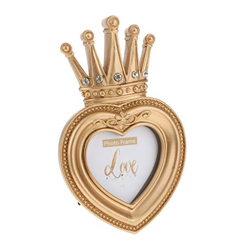 (Flameer Vintage Gold Resin Crown Style Picture/Photo Frame Desk Bedroom Home Décor - Heart-Shape 3 Inch)
