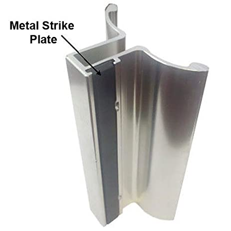 4 Frameless Shower Door Handle With Metal Strike Plate Chrome