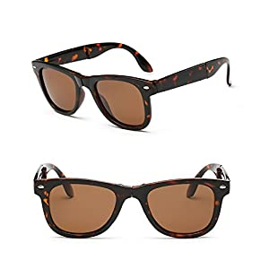 Foldable Polarized UV Protection Fashionable Sunglasses for Men Women - 2016 New Style (Tortoise, Brown)