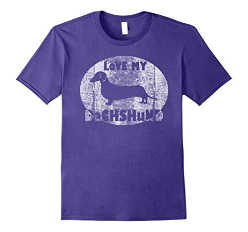 Retro Dog T-shirt - Mens Retro Love My Dachshund Distressed Dog T-Shirt 3XL Purple