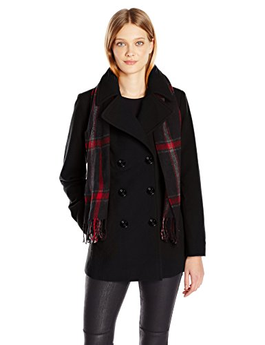 London Fog Women's Double Breasted Peacoat with Scarf, Black, ()