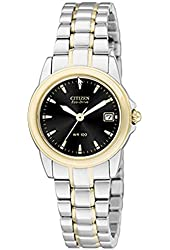 Citizen Eco-Drive Ladies Two Tone Stainless Steel with Black Dial Watch EW1624-56E