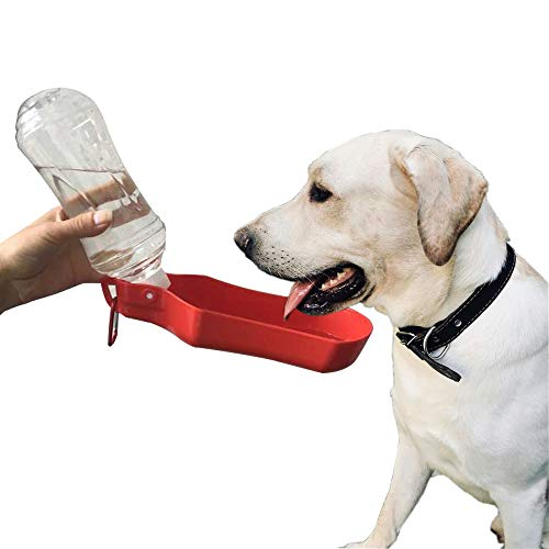 Dog Red Bottle (PETOU Portable Dog Travel Water Bottle for Walking,Running and Hiking Outdoor,Health and Safety Quality Material –17oz/500ml- Red)