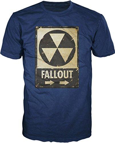 Fallout Biohazard Mens Blue T-shirt Licensed (XL)
