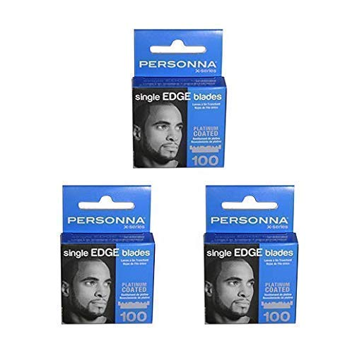 Personna X Series Platinum Coated Single Edge Razor Blades for Barbers and Stylists | Half Blades | Hair Razors | Urban Styles for Men and Women | 300 Count (3 Packs of 100 Blades) ()