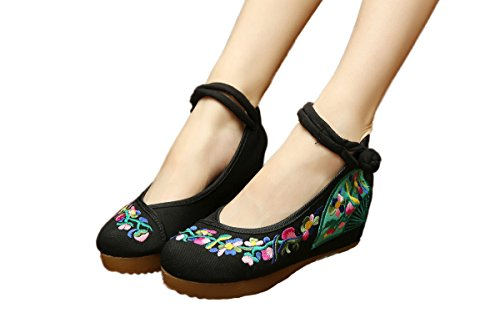 AvaCostume Womens Embroidery Flower Oxfords