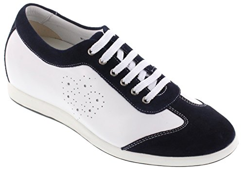 Toto A30572-2,4 Pollici Più Alto - Altezza Aumentando Le Scarpe Ascensore - Scarpe Casual Leggero Bianco / Navy