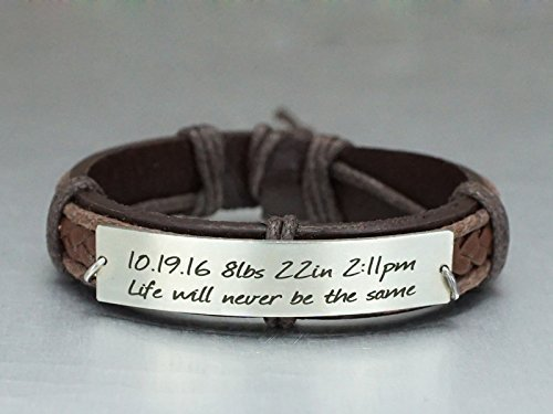 Date Of Birth Record - Personalized Leather Bracelet for Dad Mom, Baby Birth Record/Announcement, Stainless Steel Brown Cuff, New Father/Mother Gift