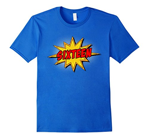 Comic Retro Old Shirt (Mens Kids 16th Birthday Comic Superhero T-Shirt for 16 Year Olds Small Royal Blue)
