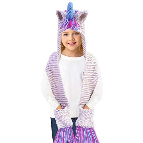 27bcc30aed2 Amazon.com  Kids Winter Unicorn Hats Knitted Earflap Hood Scarves ...