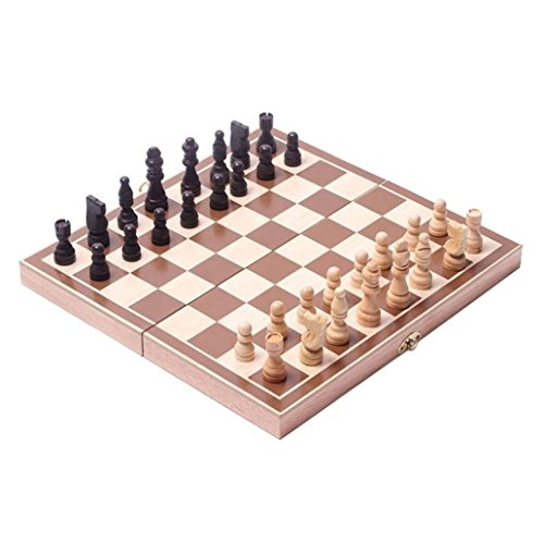 "BlueSnail 15"" Classic Vintage Standard Folding Wooden Chess Set, Foldable Games Board Crafted Carved"