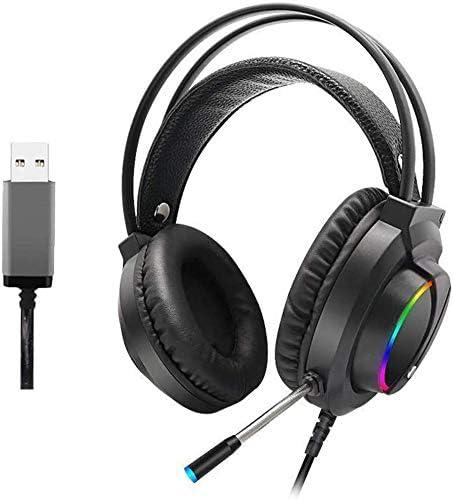 快適な 7.1カラフルなRGB発光ヘッドフォン、ゲーミングヘッドセット - ゲーミングヘッドセット3.5ミリメートルN-スイッチのオーバーイヤーステレオゲーミングヘッドフォンマイク ヘッドセット