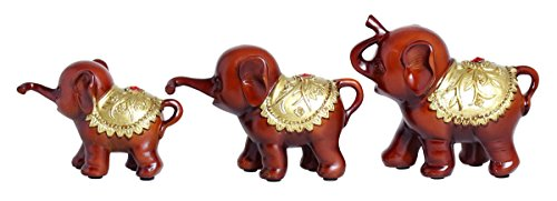 Adorable Retro Vintage Distressed Resin Elephant Design Decorative Sculpture Display with Rubies, Brown, A set of 3 in different sizes Vintage Elephant Figurine