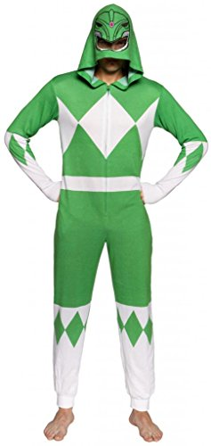 Power Ranger Suits Adults (Power Rangers Green Ranger Adult One Piece Pajama Union Suit (XX-Large))