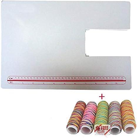 LNKA - Mesa extensible para máquina de coser Singer 4411 4423 4432 5511 5523 5 rollos de hilos de arcoíris como regalo: Amazon.es: Juguetes y juegos