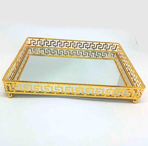 Lucaslo Glamor Gold Vanity Mirror Tray| Bathroom Organizer| Coffee Table Tray| Jewelry Tray| Makeup Storage| Bathroom Decor Accent Table Tray| Serving Tray| Glass Mirror| Gifts for Women| Gold Mirror