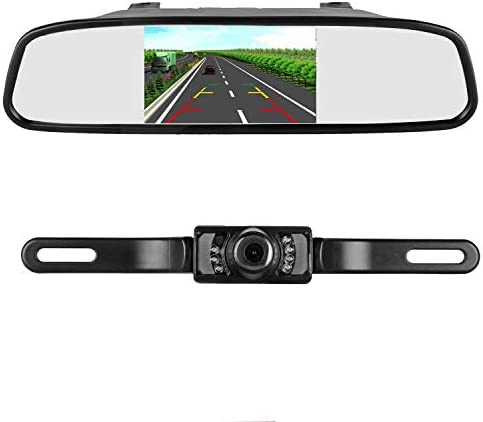 iStrong Backup Camera and Mirror Monitor Kit for Truck Car Pickup Camper SUV Mount Windshield Optional IP68 Waterproof Connecting Single Power Reversing Driving Use Night Vision