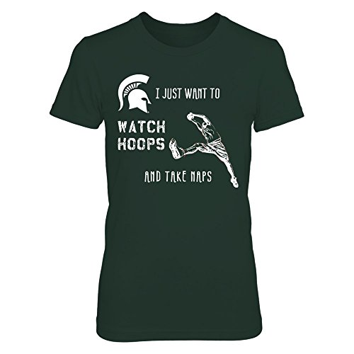 FanPrint Watch Hoops & Take Naps Michigan State - Gildan Women's T-Shirt - Officially Licensed Fashion Sports Apparel