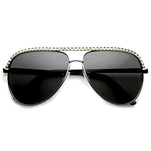 Rhinestones Womens Aviator Metal Sunglasses Stunner Fashion Celebrity Bling - Sunglasses Stunners