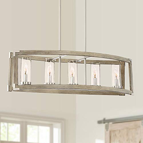 "Kerr Wood Brushed Nickel Linear Pendant Chandelier 32 3/4"" Wide Modern Farmhouse 5-Light Fixture for Kitchen Island Dining Room - Possini Euro Design"
