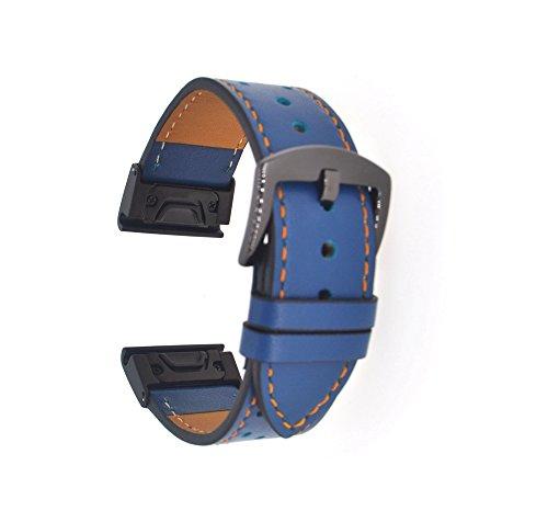 Fenix 5x Leather Strap, 26mm Width Quick Release Fenix 3 Leather Watch Band Easy Fit Wristband Replacement Strap for Garmin Fenix 5X/Fenix 3/Fenix 3 HR GPS Smart Watch ZTY (Blue)
