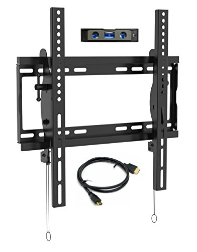 "Everstone Universal Tilting TV Wall Mount for 23-55"" Flat Screen TVs,Curved TVs up to VESA 400x400mm &125 LBS,Low Profile Tilt tv Bracket fits Single&16""Wall Studs,with HDMI Cable & Bubble Level"