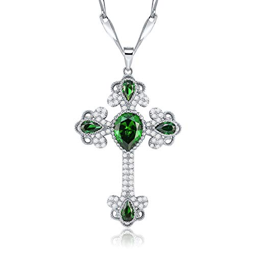 (Yeinos Womens 925 Sterling Silver Created Emerald Cross Necklace)