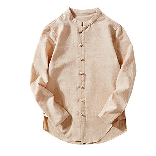 Mens Cotton Linen Long Sleeve Shirt Solid Loose Banded Collar Button Tai Chi Top(Khaki ,Bust:46