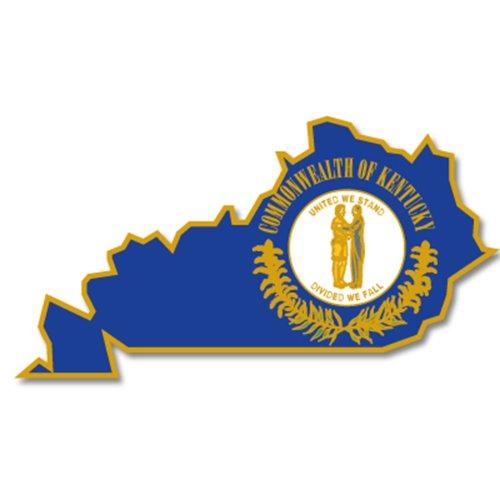 PinMart State Shape of Kentucky and Kentucky Flag Lapel Pin