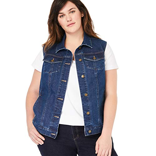(Woman Within Women's Plus Size Stretch Denim Vest - Medium Stonewash, 20 W)