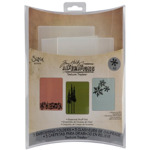 (Sizzix Texture Trades Embossing Folders 3PK - Seasonal Stuff Set by Tim Holtz )