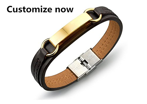 CF Free Engraving Women Men's Stainless Steel Blank Gold Nameplate Custom Genuine Leather Bracelet Personalized Message Engarved ID Bangle,20.5cm