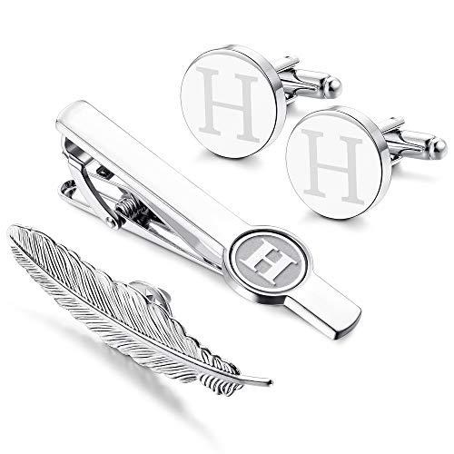 Cufflinks Set Engraved (LOYALLOOK Initial Cufflinks and Tie Clip for Men Women Engraved Shirt Cufflink Alphabet A-Z Tie Bar Set for Business Wedding Gift Box H)