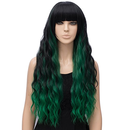 Netgo Women's Green Mixed Black Wig Long Fluffy Curly Wavy Hair Wigs for Girl Synthetic Party Wigs ()